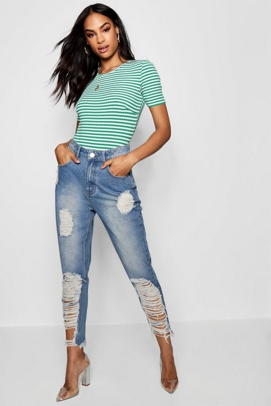 Distressed Denim Mom Jean