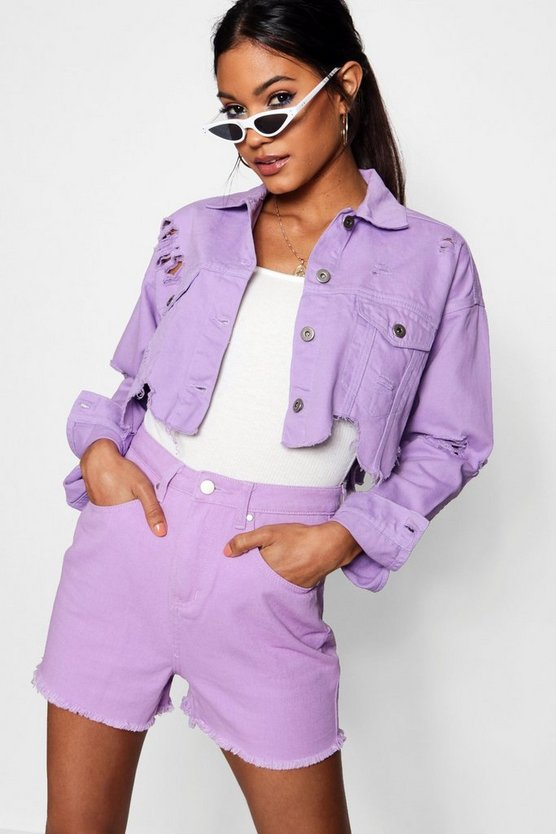 Nia Lilac Distressed Cropped Denim Jacket