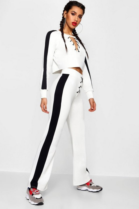 Lace Up Side Stripe Trouser