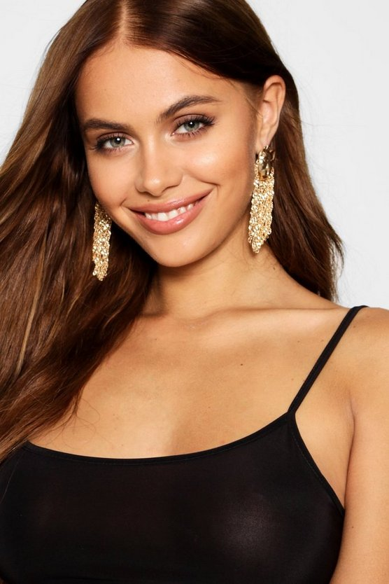 Cheetah Head Detail Chain Tassel Earrings