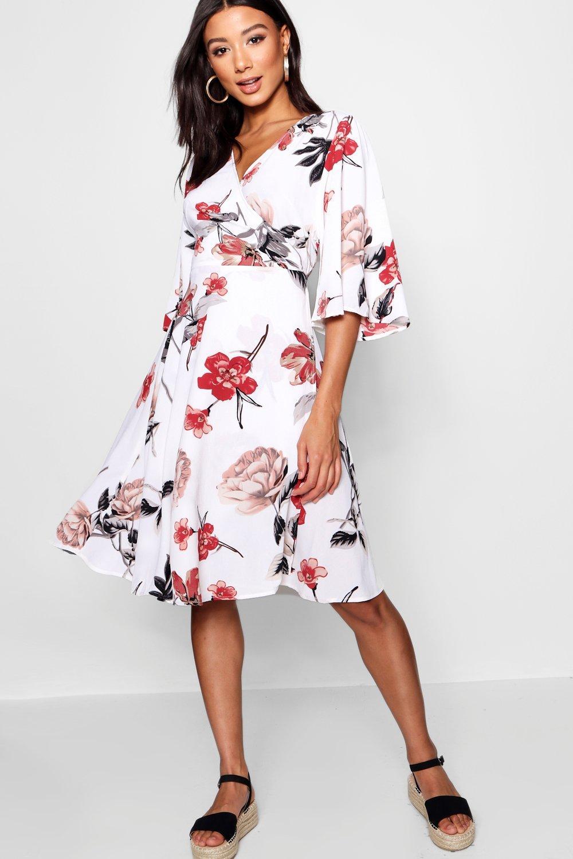 £5 Dresses Flare Sleeve Wrap Front Skater Dress