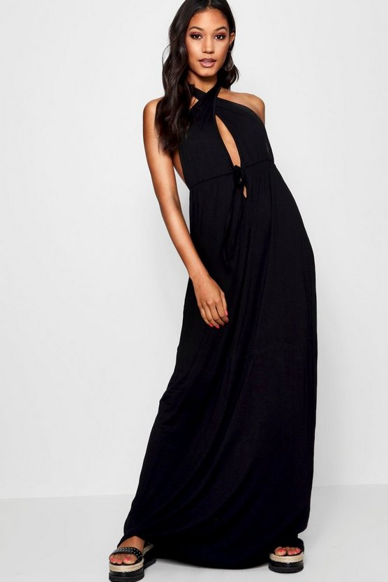 Plunge Front Halterneck Maxi Dress