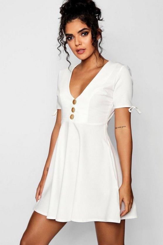 Holly Mock Horn Button Detail Woven Tea Dress by Boohoo