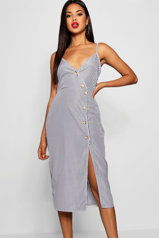 Купить Dresses, Свободное платье миди из ткани в полоску с отделкой из пуговиц Katy, boohoo