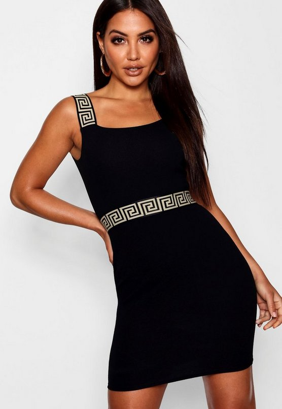 Greek Key Trim Bodycon Dress