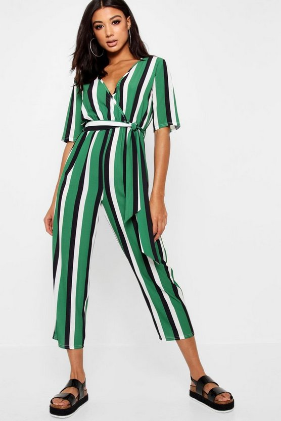 Striped Wrap Front Tapered Leg Jumpsuit