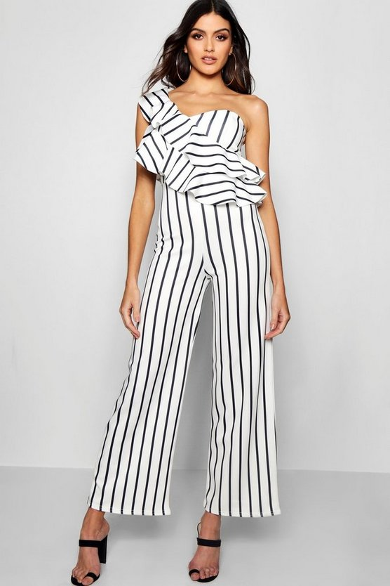 One Shoulder Ruffle Wide Leg Jumpsuit