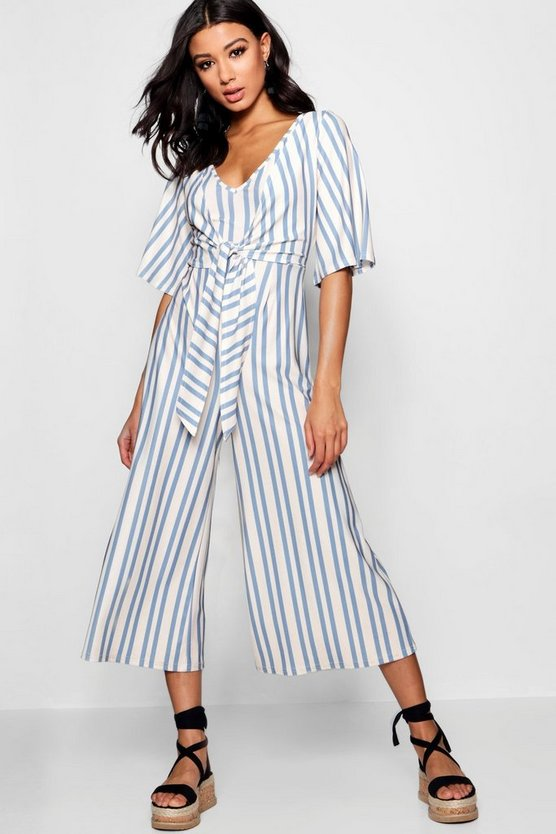 Selly Tie Front Wrap Culotte Jumpsuit