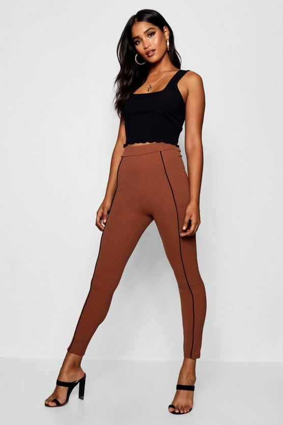 High Waist Contrast Binding Crepe Legging
