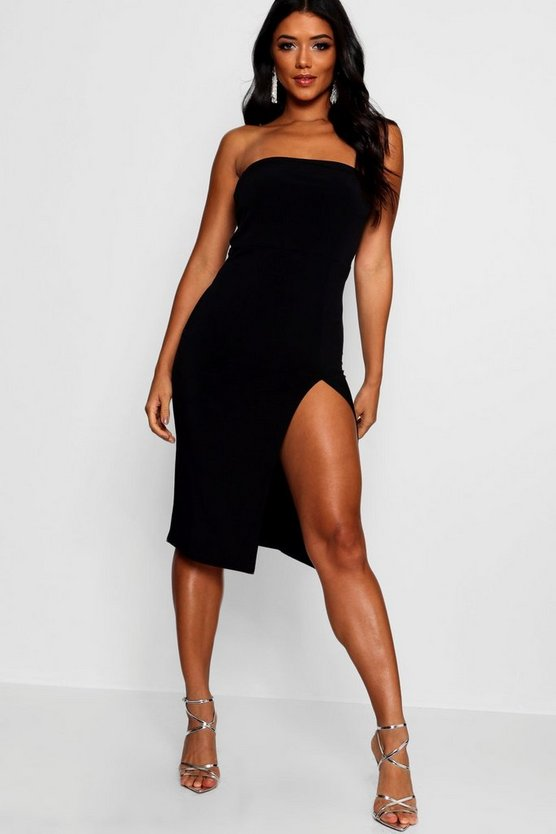 Louise Bandeau Thigh Split Midi Dress