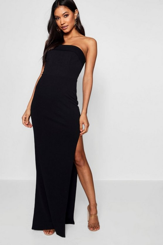 Felicity Bandeau Fold Over Column Maxi Dress