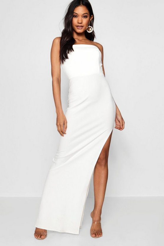 Bandeau Fold Over Column Maxi Dress