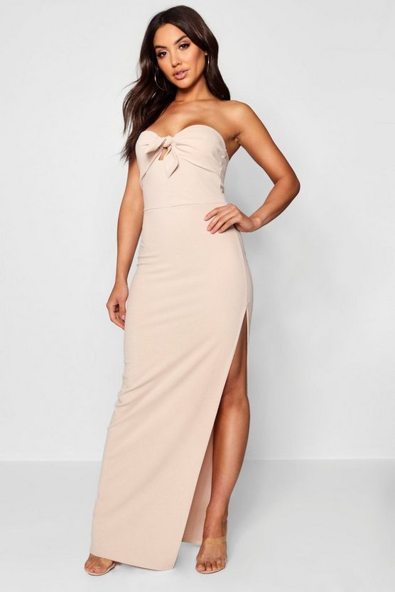 Bandeau Tie Front Thigh Split Maxi Dress