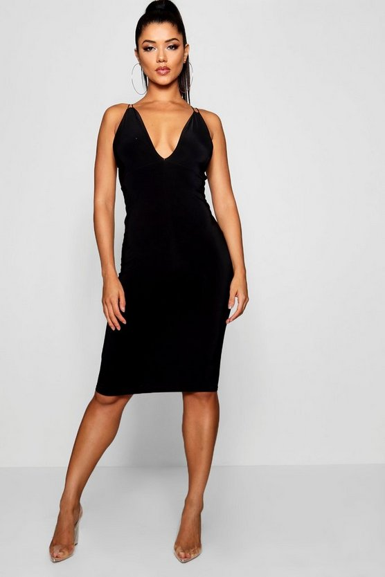 Slinky Open Back Midi Dress