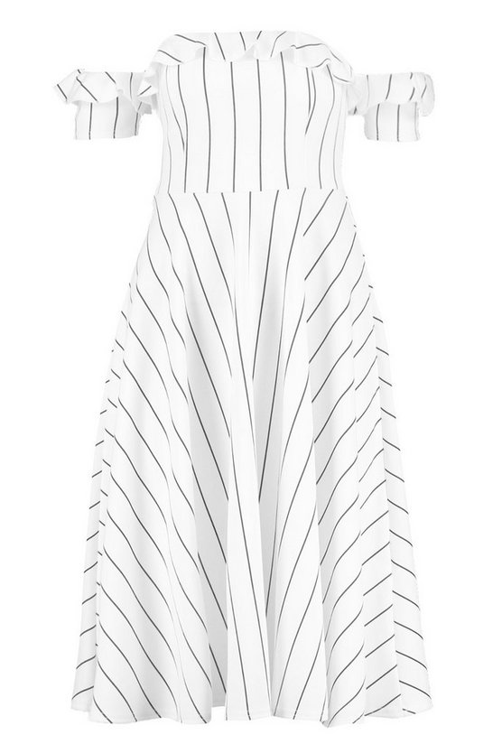 Missie Off The Shoulder Stripe Midi Skater Dress by Boohoo