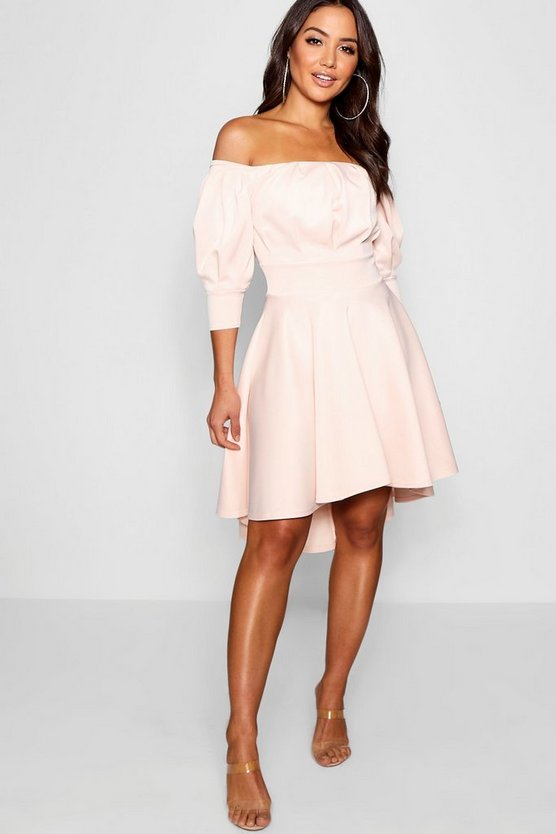 Off the Shoulder Puff Sleeve Skater Dress