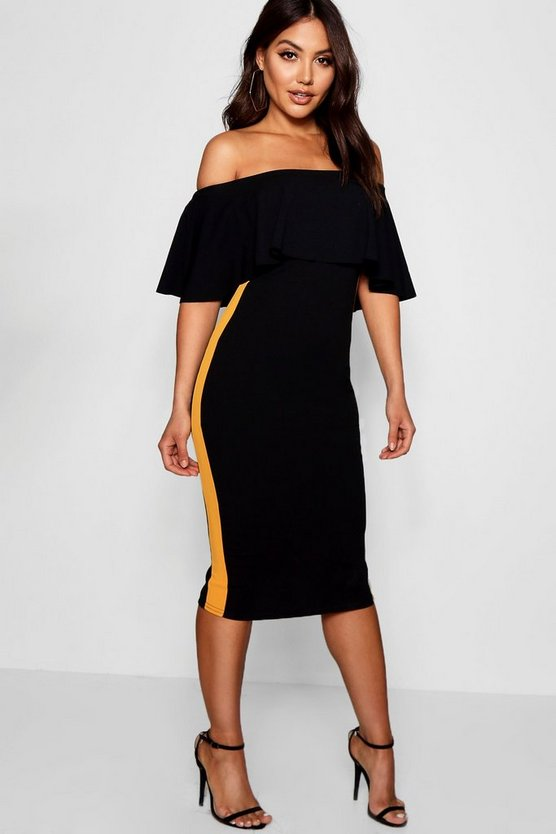 Off the Shoulder Sports Stripe Midi Dress