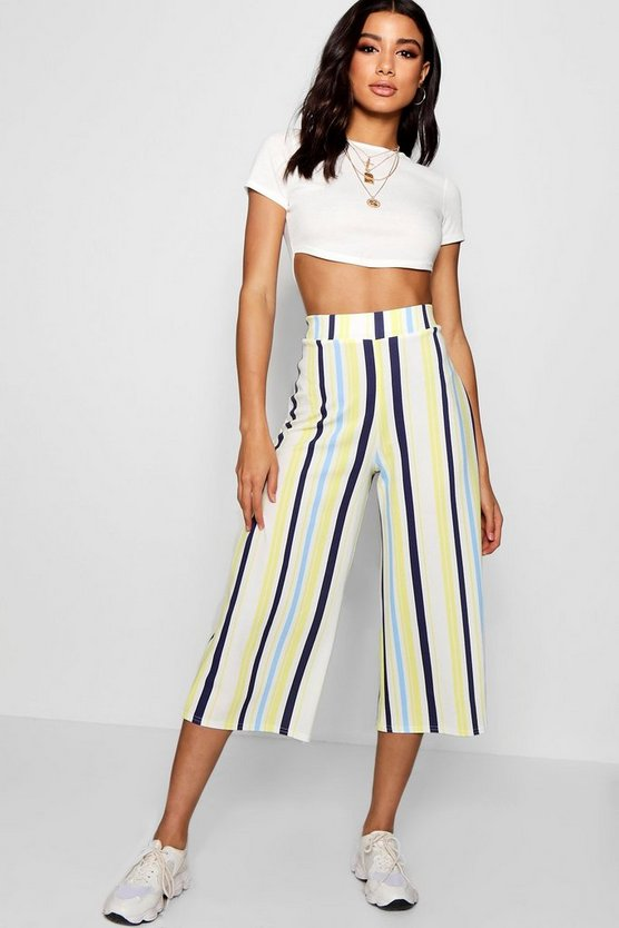 Anya Multi Stripe Wide Leg Culotte by Boohoo