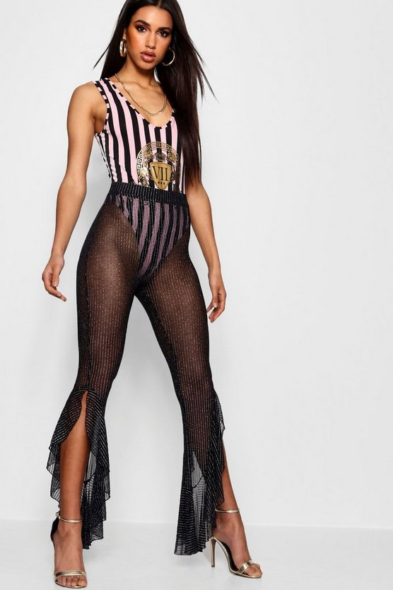 Stefflon Don Glitter Stripe Sheer Ruffle Trouser