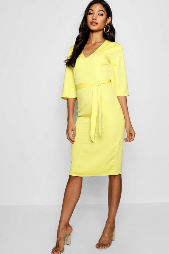 Woven Belted Midi Dress