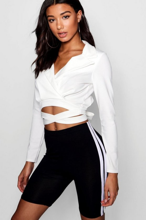 Collared Wrap Belt Blouse