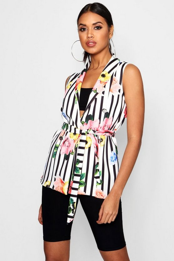 Lucy Floral Stripe Mix Belted Sleeveless Blazer