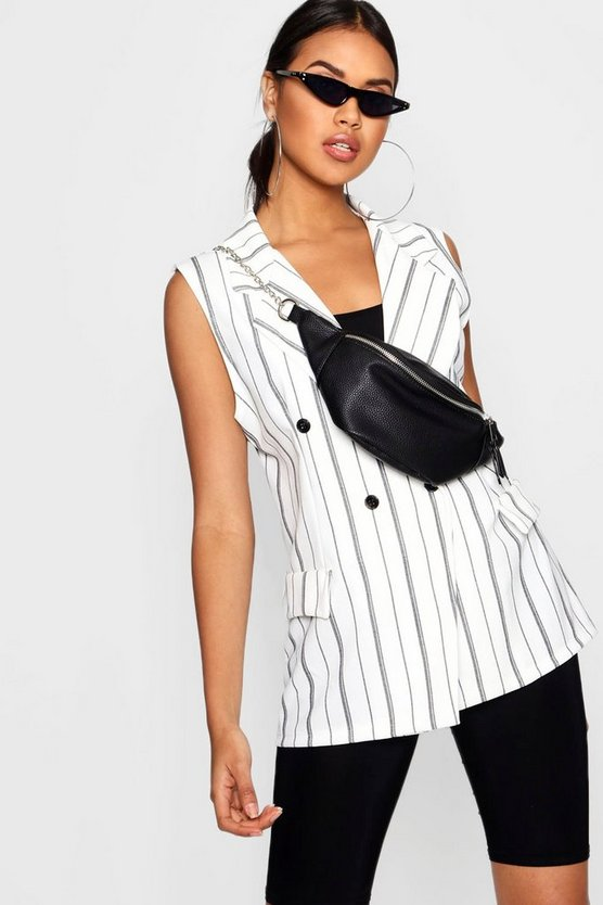 Louise Double Breasted Sleeveless Stripe Blazer