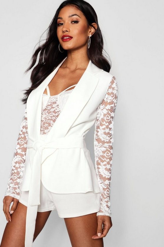 Lace Sleeve Belted Blazer