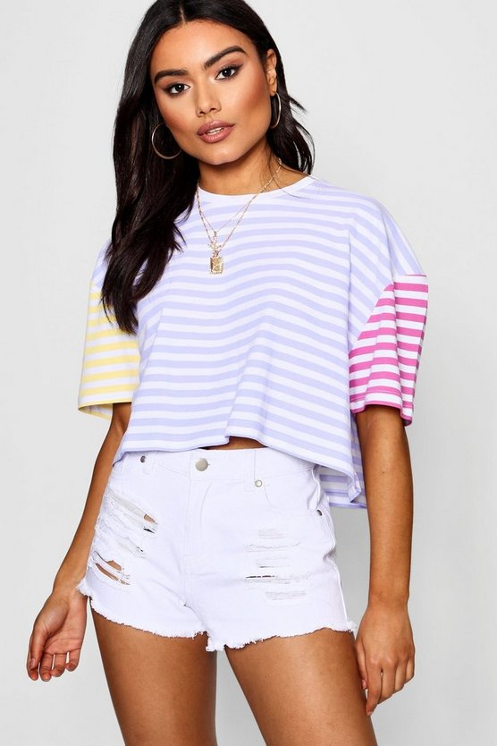 Amy Pastel Contrast Stripe Boxy Crop by Boohoo