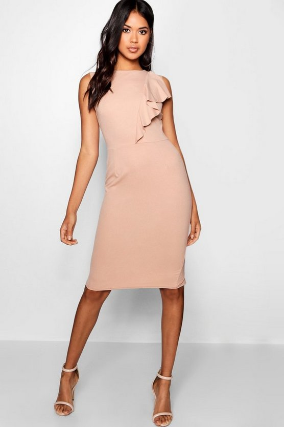 Holly Ruffle Detail Midi Dress by Boohoo