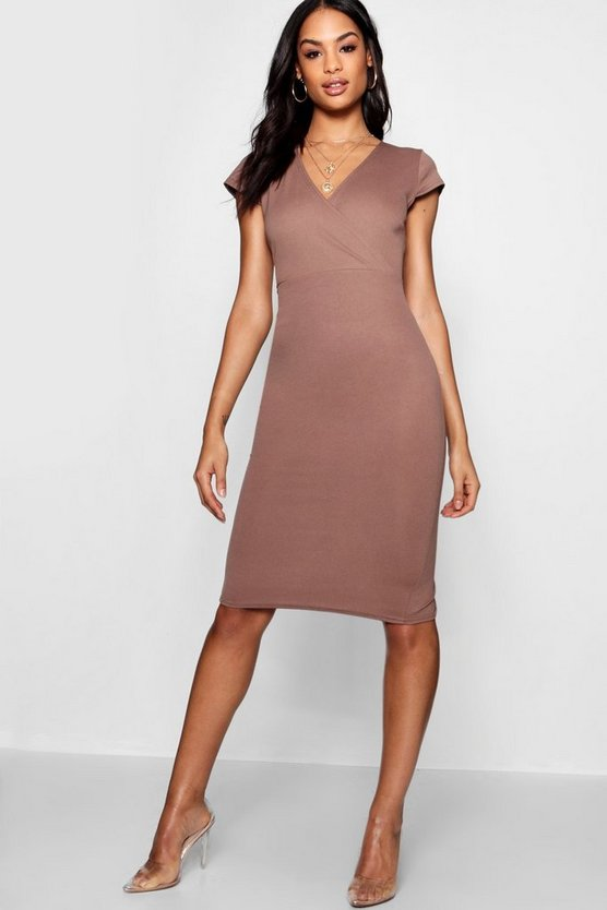 Naomi Wrap Neckline Short Sleeve Midi Dress