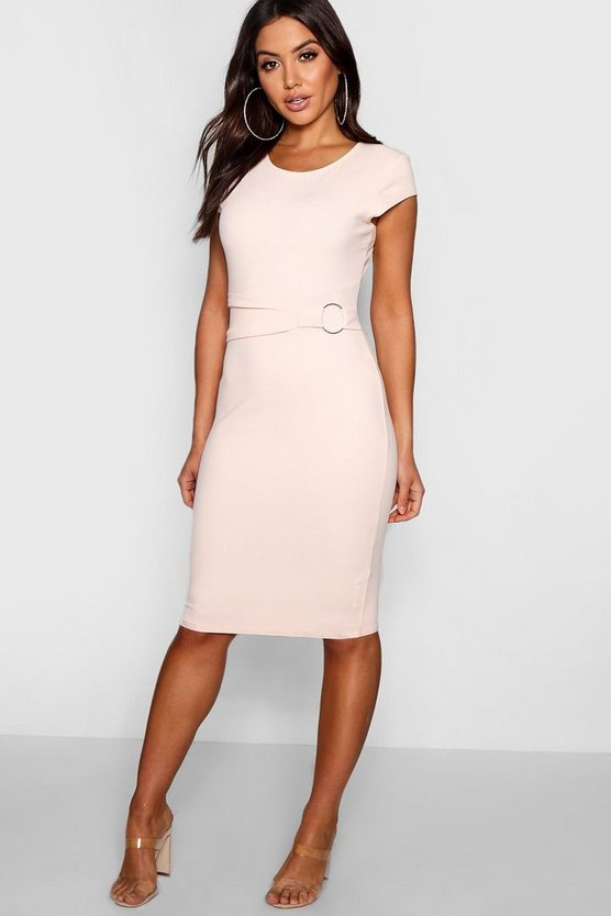 Alana Ring Detail Pleat Waist Midi Dress