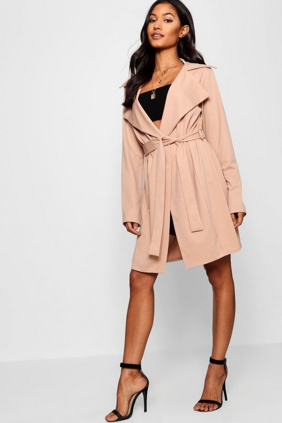 Holly Collared Belted Duster Jacket by Boohoo