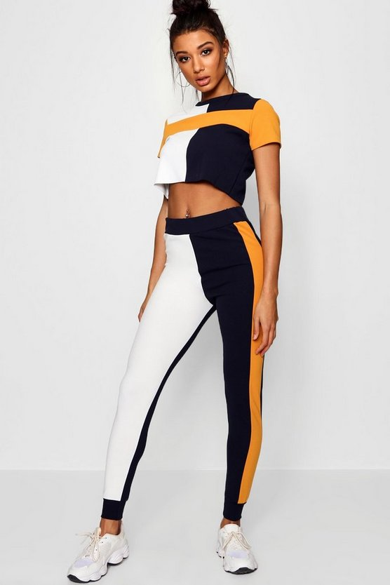 Meg Athleisure Colour Block Jogger Set by Boohoo