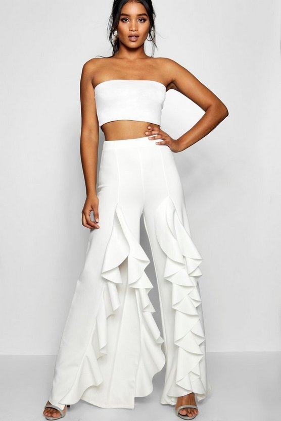 Ruffle Thigh Split Wide Leg Trouser