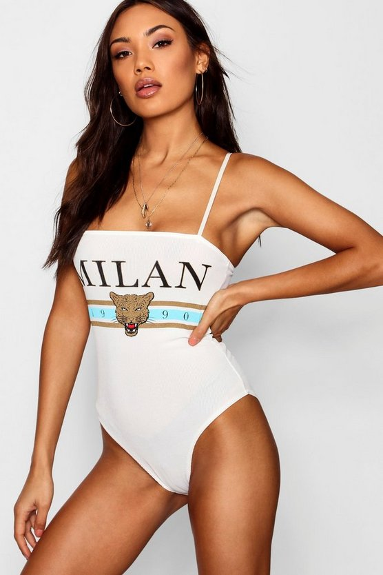 Foil Printed Slogan Square Neck Bodysuit