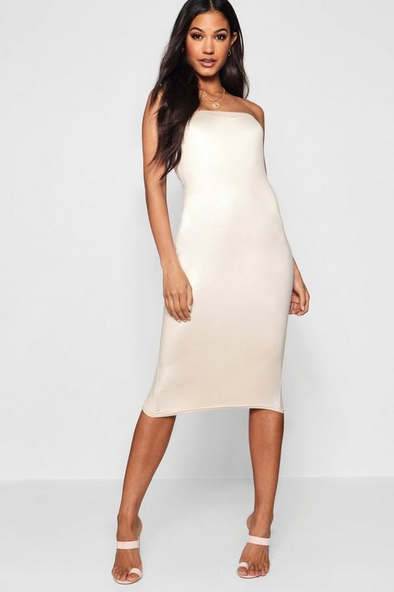 Disco Slinky Bandeau Midi Dress