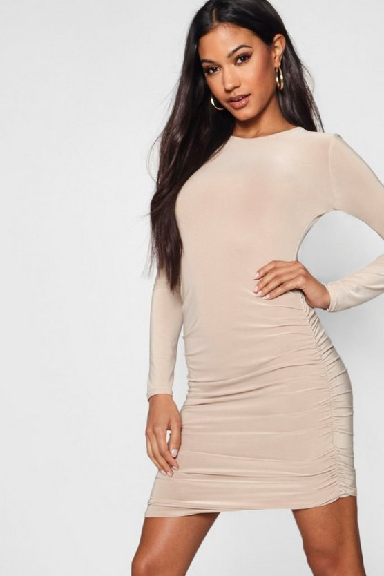 Tia Slinky Ruched Side Bodycon Dress
