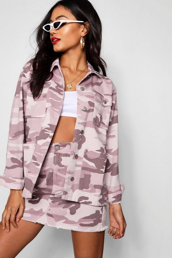 Fia Pink Washed Camo Denim Shacket