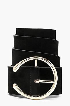 Cintura boyfriend in camoscio sintetico con occhielli rotondi
