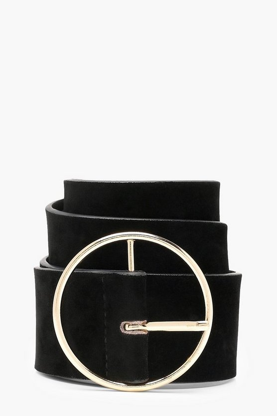 Suedette Circle Buckle Waist Belt
