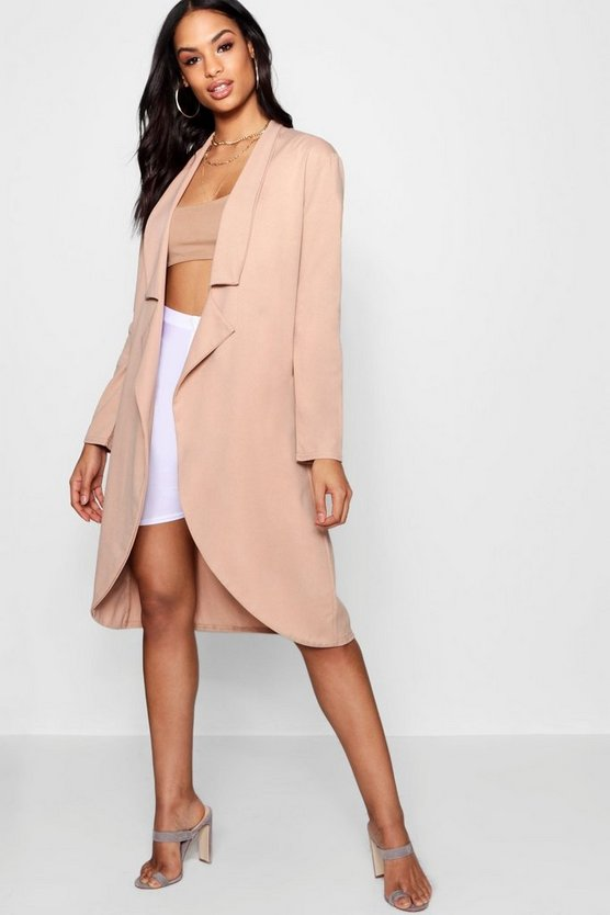 Alice Knotch Detail Longline Duster Jacket