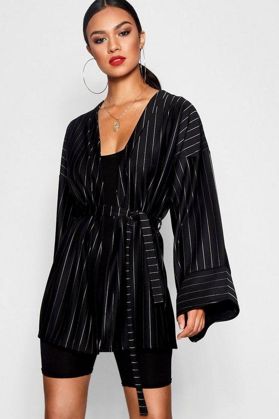 Pinstripe Kimono Sleeve Belted Duster Jacket by Boohoo