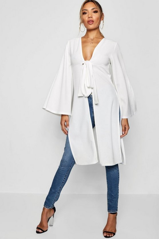 Tie Front Split Duster Jacket