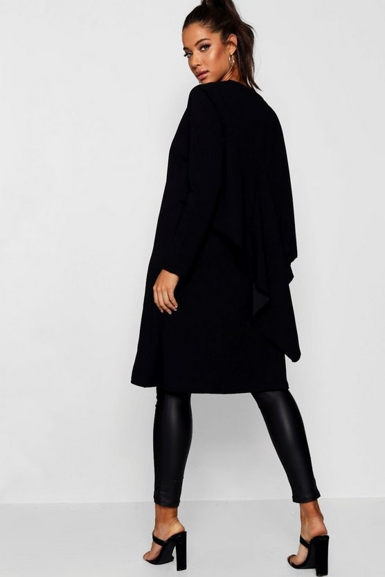 Ruffle Back Longline Duster Jacket