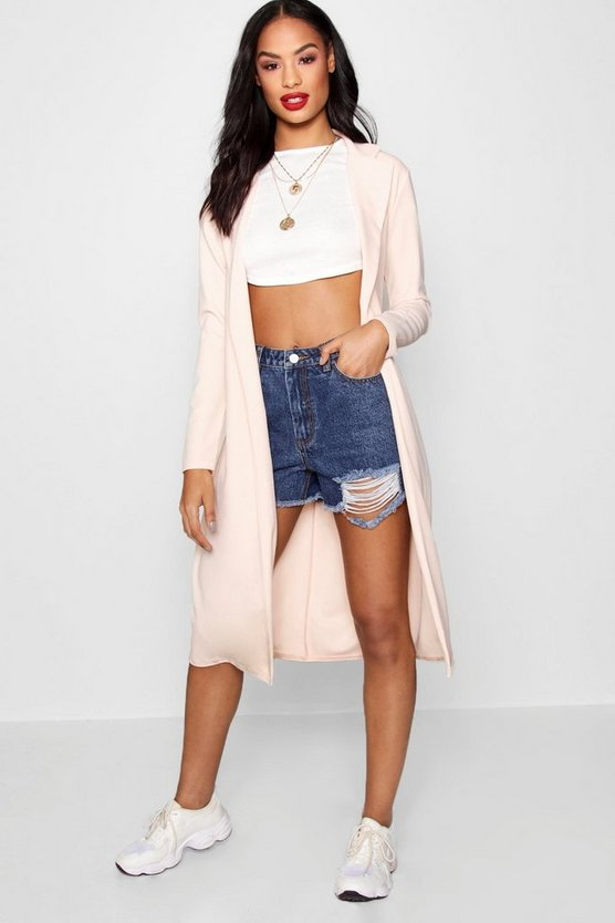 Buckle Belt Longline Duster Jacket