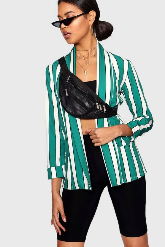 Stripe Shawl Collar Blazer