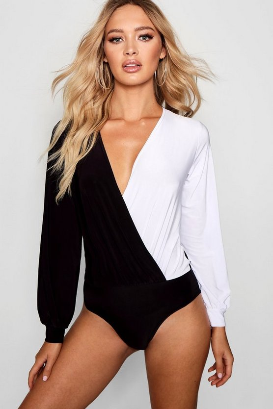 Colour Block Slinky Bodysuit