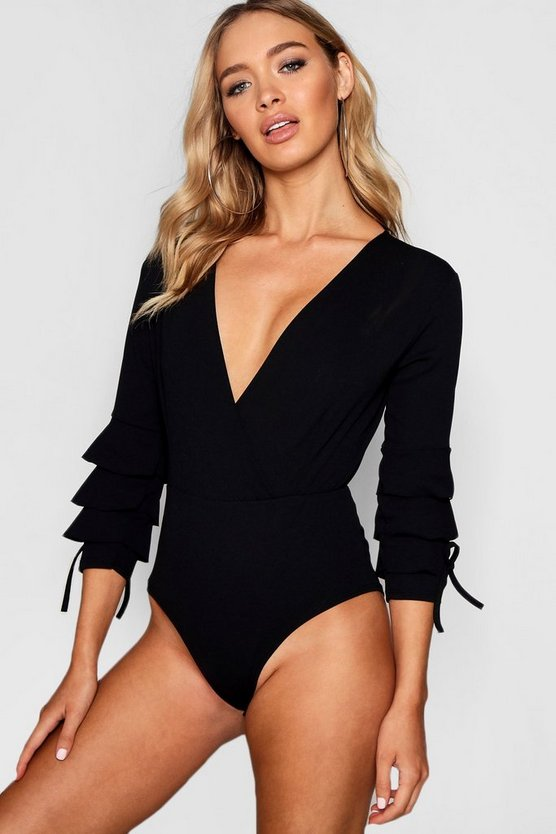 Amy Wrap Ruffle Cord Sleeve Bodysuit