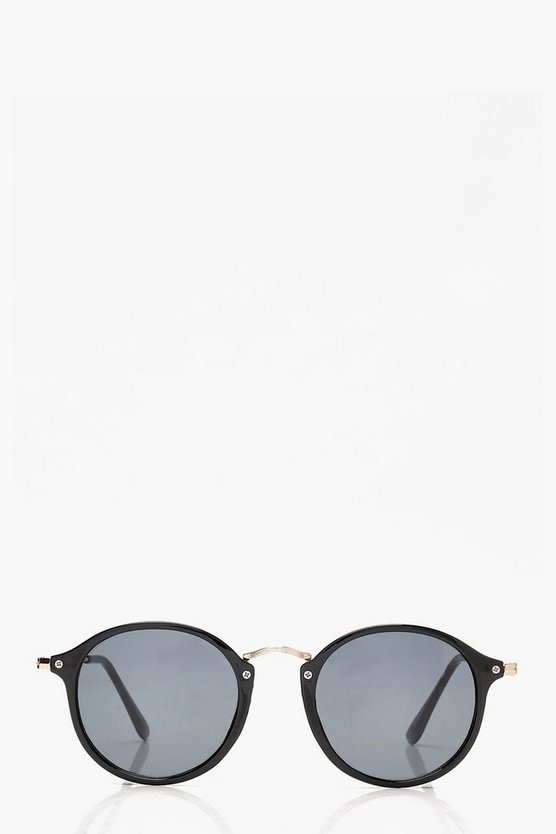 Black & Gold Frame Round Sunglasses